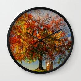 Tardis Art With A Tree Wall Clock