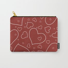 Red and White Hand Drawn Hearts Pattern Carry-All Pouch