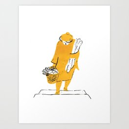 Woman holding baguettes Art Print