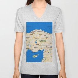 Turkey Map Design Unisex V-Neck