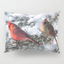 Sunny Winter Cardinals in the Adirondacks Pillow Sham