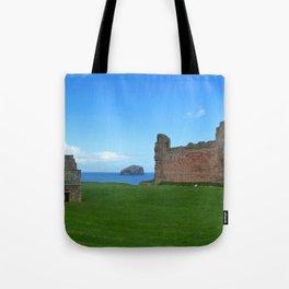 Bass Rock from Tantallon Castle, North Berwick, Scotland Tote Bag