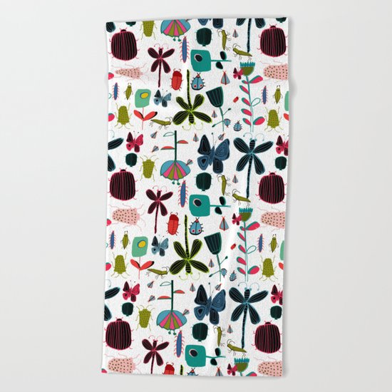 Insect watercolor white Beach Towel