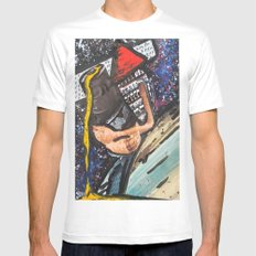Triangle Man Says Hi  White MEDIUM Mens Fitted Tee