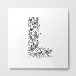 Floral Type - Letter L Metal Print