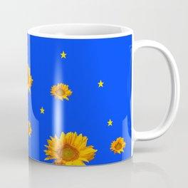 RAINING GOLDEN STARS YELLOW SUNFLOWERS BLUES Coffee Mug
