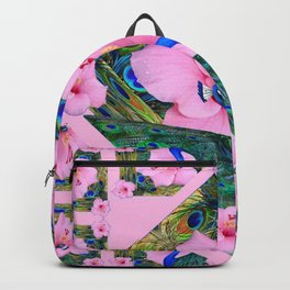 #2 PINK HIBISCUS FLOWERS BLUE-GREEN PEACOCK PATTERNS Backpack