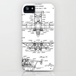 Seaplane Patent - Biwing Seaplane Art - Black And White iPhone Case