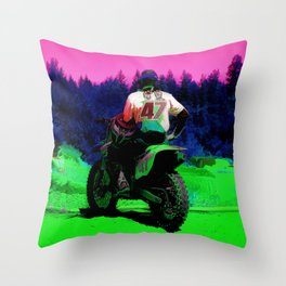 Checking the Track - Motocross Racer Throw Pillow