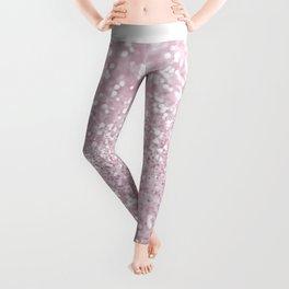 Elegant Girly Pink White Faux Glitter Leggings