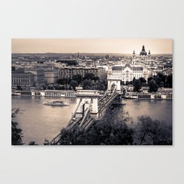 The Chain Bridge in Budapest over the Danube River Canvas Print