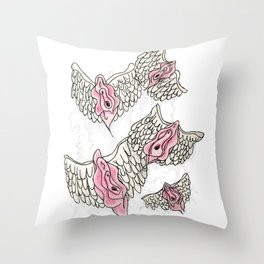 FLYING VULVAS Throw Pillow