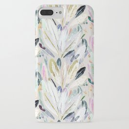 Pastel Shimmer Feather Leaves on Gray iPhone Case