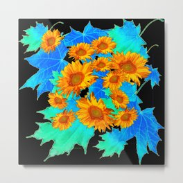 Decorative Black Pattern Blue Leaves Sunflowers Metal Print