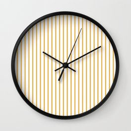 Marigold Yellow Pinstripe on White Wall Clock