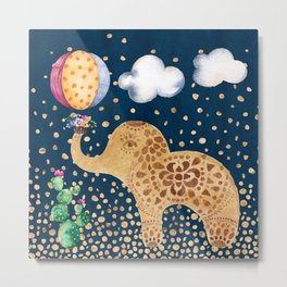 Elephant Play Metal Print
