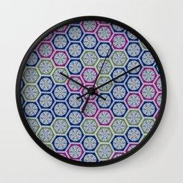 Hexagonal Dreams - Purple Blue Green Wall Clock