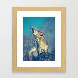 howling wolf art Framed Art Print