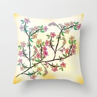 cherry blossoms Throw Pillows featuring Cherry Blossoms by famenxt