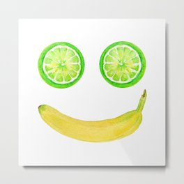 Watercolor Fruit Smiley Face Metal Print