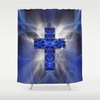 cross Shower Curtains featuring Cross by Mr D's Abstract Adventures