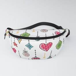 Christmas ornaments pattern hand doodling Fanny Pack