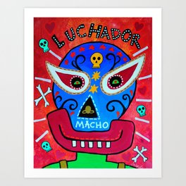 LUCHADOR MEXICAN PAINTING Art Print