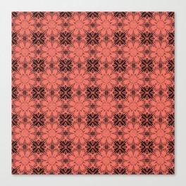 Peach Echo Floral Geometric Canvas Print