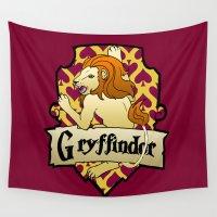 gryffindor Wall Tapestries featuring Gryffindor Crest by AriesNamarie