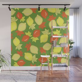 Tumbled Lemons Pattern Wall Mural