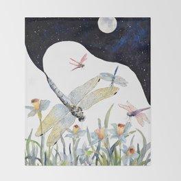 Good Night Surreal Dragonfly Artwork Throw Blanket