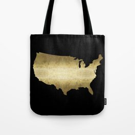 US map gold foil on black Tote Bag