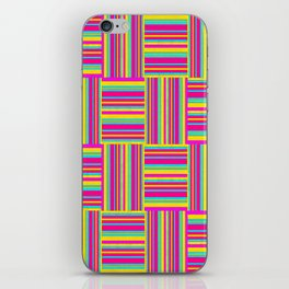 Neon Multicolored Weaved Squares iPhone Skin