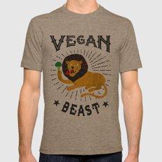 Vegan beast LARGE Mens Fitted Tee Tri-Coffee