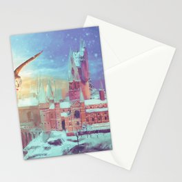 HP Inspired Hogwarts Owl Painting Castle Stationery Cards