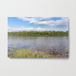 White clouds over the river. Metal Print