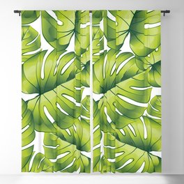 Palm leaves green pattern tropical art decoration Blackout Curtain