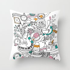 My Happy Doodle Throw Pillow