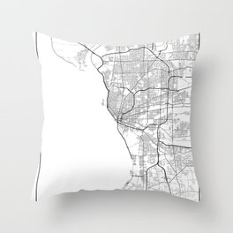 Minimal City Maps - Map Of Buffalo, New York, United States Throw Pillow