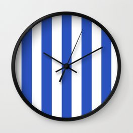 Cerulean blue - solid color - white vertical lines pattern Wall Clock