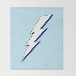 Just Me and My Shadow Lightning Bolt - Light-Blue White Blue Throw Blanket