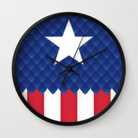 america Wall Clocks featuring America by gallant designs
