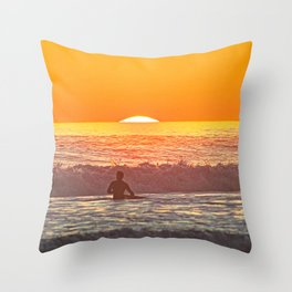 Sunset Sunrise Sea Waves Surfer Surf Seascape Throw Pillow