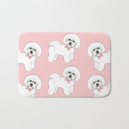 Bichon Frise pink bows christmas holiday themed pattern print pet friendly dog breed gifts Bath Mat