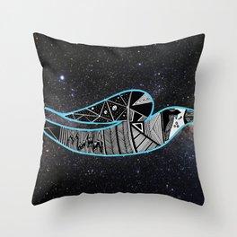 Rain Bird in Space Throw Pillow