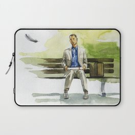 Forrest Gump (Tom Hanks) sitting on a bench with a flying feather Laptop Sleeve