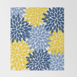 Blue Yellow Flower Burst Floral Pattern Throw Blanket