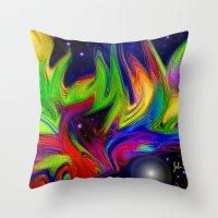 makeup Throw Pillows featuring Galactic makeup by JT Digital Art