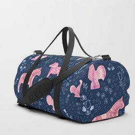 Swedish Dala Horse and Rooster Blue and Pink Pattern Duffle Bag