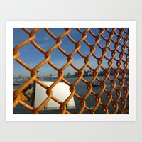 Orange Fence Art Print